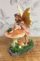 Flower Fairy Figurine Resting on Toadstool ~ Pink Dress